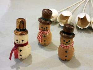 Turned Wooden Snowmen by Dave McBride