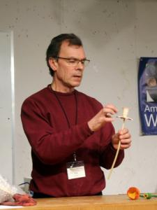 Ron Zdroik demos spraying dye with an airbrush