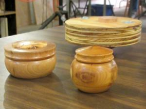 Lidded boxes (foreground) by Tony Rozendaal