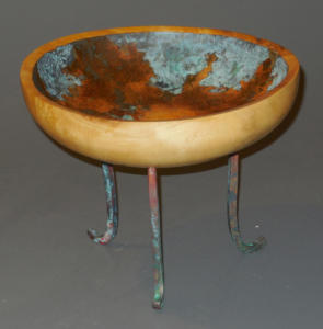 Legged Bowl with Reactive Metallic Paint Treatment - Ron Zdroik