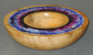Bowl with Resin Inlay on Rim - Ron Zdroik