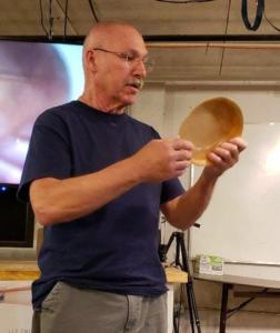 Eric Meigs showing thin turned bowl - Eric, it's not thin enough!